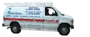 a perfect climate heating and air conditioning experts working van image