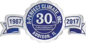 30th anniversary in business as addison illinois heating and cooling experts logo